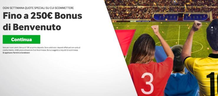 Betway - Bonus di 10€ sul primo deposito