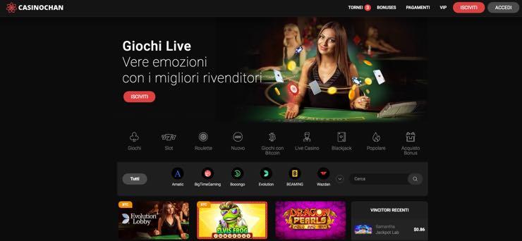 Casinochan - Pacchetto bonus 400 € + 120 giocate gratis