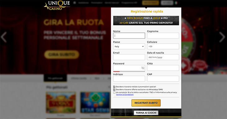 Come registrarsi su Unique Casino?