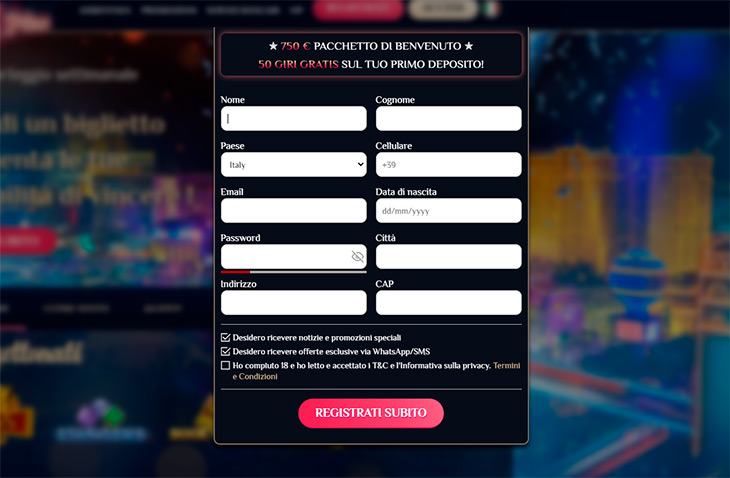 Come registrarsi su Vegas Plus Casino?