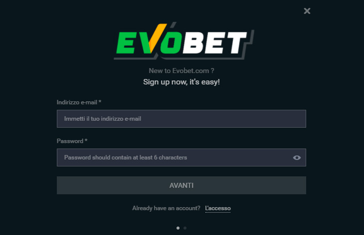 Come registrarsi su Evobet?