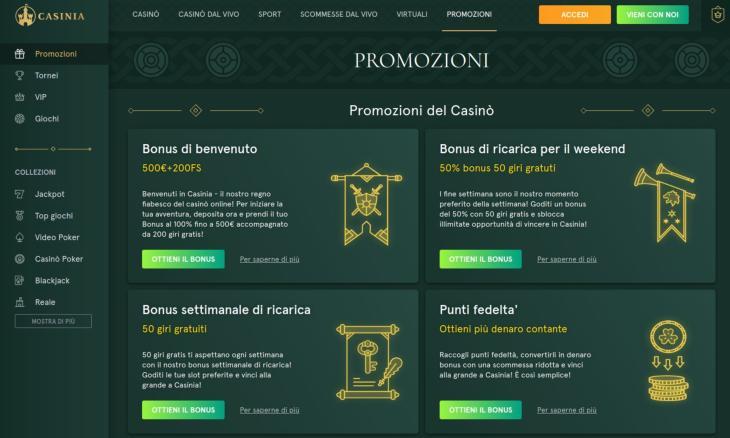 Promozioni disponibili su Casinia