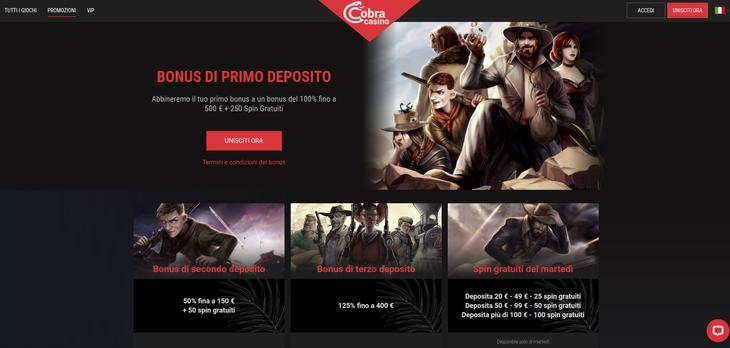 Quali sono le promozioni su Cobra Casino?